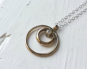 Diamond Circle Pendant - 14kt Recycled White Gold - Minimalist, Simple, Nested Circles