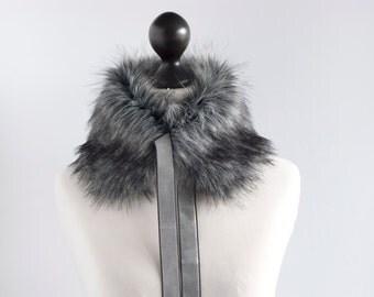 Faux fur collar in grey. Fur neck warmer. Womens fur collar. Fur scarf. Christmas gift. Grey fake fur collar with velvet ribbon. Fur scarf.