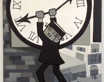 Robot of Leisure: Popped Culture - The Clock - original artwork - acrylic on canvas