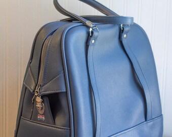 Blue Vintage Carry on bag, Retro 70's Luggage, American Tourister Tiara Travel Bag,  Round Train Case, Unisex Men Women