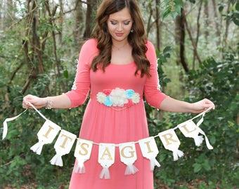 Gender Reveal Maternity Sash, Coral Maternity Sash, Baby Shower Sash, Pregnancy Sash, Belly Sash, Maternity Flower Sash, Coral Aqua Ivory