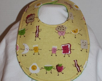Dancing Breakfast Flannel / Terry Cloth Bib