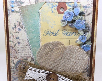 Valentine's Day Card - Burlap Heart - Valentine Card