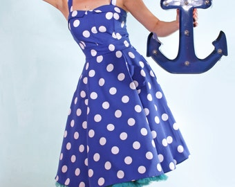 Sailor Blue and white Polka Dot Rockabilly fifties Dress