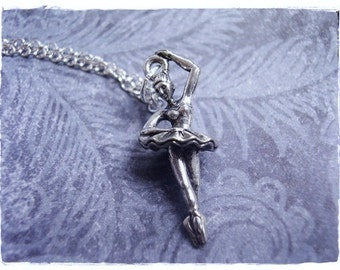 Silver Ballerina Necklace - Antique Pewter Ballerina Charm on a Delicate Silver Plated Cable Chain or Charm Only