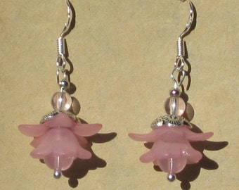 Fairy Flower Earrings with Pink Glass Beads
