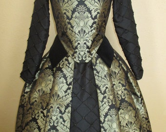 Elizabethan/Tudor Renaissance Gown in Brocade Custom Made