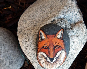 RED FOX Hand Painted Rocks Animal Totem Stone Altar Tools Wolf Medicine Rock Art Forest Spirit Animals Clever Fox Lotus and Nightshade