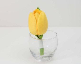 Yellow Tulip Boutonniere, men, groom, groomsmen, fathers, prom, wedding