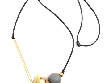Citrus Yellow Agate Asymmetrical Long Leather Wood and Brass Necklace