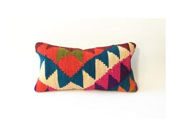Vintage Kilim Lumbar Pillow / 10x20