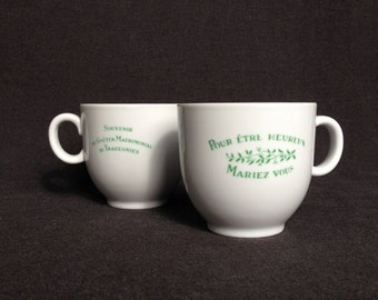 To be happy, get married it says... Vintage festive engagement pair of souvenir cups. Engaged couple or newlywed one of a kind gift idea.