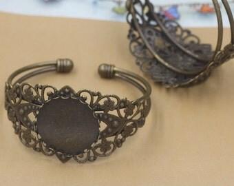 5 Blank Bangle Base- Filigree Floral Brass Antique Bronzed Adjustable Cuff Bangle W/ Lace edged 25mm Round Bezel Setting- Z8294