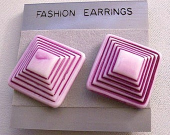 Purple Squares Pyramid Clip On Earrings Gold Tone Vintage Hong Kong Lucite Layered Disc Buttons