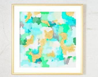 Watercolor Nursery Art Print, Girl Nursery Decor, Mint Gold Nursery Decor, Aqua Nursery Wall Art, pastel watercolor print abstract painting