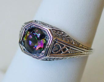1 carat Mystic Topaz and Sterling Silver Filigree Ring Size 8 // Antique Victorian Edwardian Art Nouveau Deco Gemstone Engagement Boho Retro