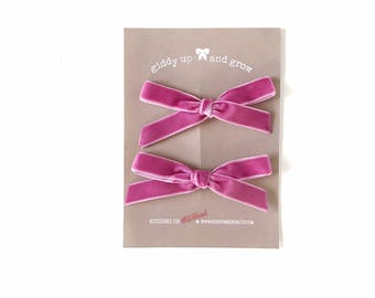 Summer Pigtail Bows, Velvet Hair Bows in the Color ROSE, giddyupandgrow