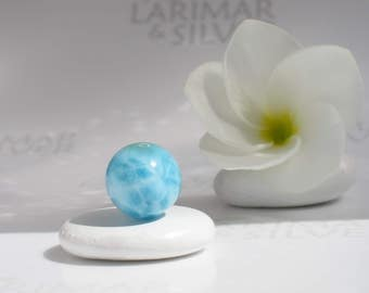 Larimar bead from Larimarandsilver, Atlantis Pearl 11 - 15mm aquamarine Larimar bead, turtleback, sea blue water pearl handmade Larimar bead