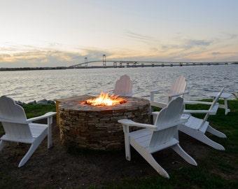 Newport Pictures, Jamestown Bridge, Goat Island, Fire Pit, Summer Memories, New England Art, Seaside Home Wall Decor, Master Bedroom Decor