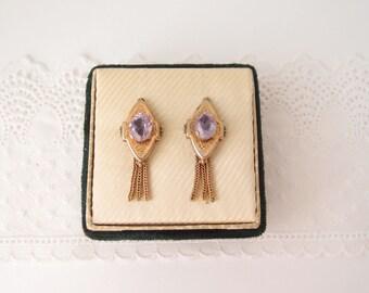 antique Amethyst Earrings Victorian Edwardian 10 karat gold GF fringe screw backs genuine gemstones