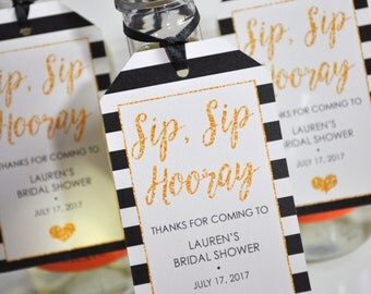 Wine Bottle Favor Tags Bridal Shower, Wedding Favors, Mini Champagne Tags, Personalized Mini Wine Bottle Favors - Black Gold - Set of 12