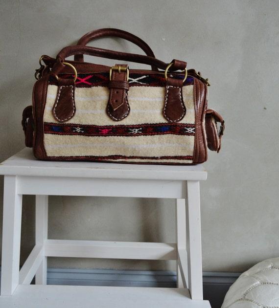 Shoulder Leather Bag-Trendy Winter Finds Berber Design Kilim Leather Satchel Cross Shoulder Straps Berber style-bag, tote, handbag