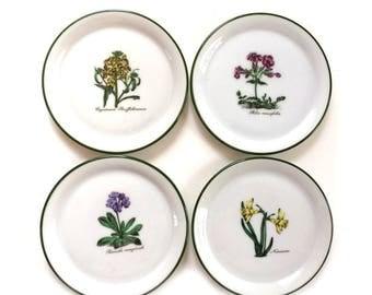 4 Vintage Seltmann Weiden Bavaria Botanical Porcelain Coasters W. Germany