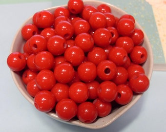50x Red Opaque Solid Colour Resin Globe Round Beads 10mm
