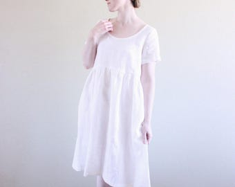White Linen Dress / Empire Waist / Pockets / Scoop neckline / Short Sleeves / Soft Linen / Loose Pullover / Made To Order