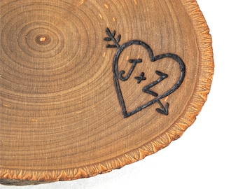 Carved Heart Ring Bearer Pillow - Personalized Rustic Wood Tree Slice - Wedding Decorations Wooden Rounds