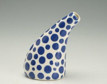 Small Ceramic Bud Vase, Office Desk Accessories, Modern Pottery Flower Vase, Polka Dot Ceramic Vase, Hand Painted Urban Vase