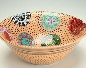 Redware Pottery Large Rim Bowl Medallion Circles Hand Painted Colorful Ceramic Serving Bowl