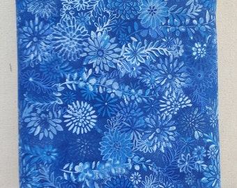 "Rich Bright Blue Modern Floral 108"" wide back 100% cotton fabric"