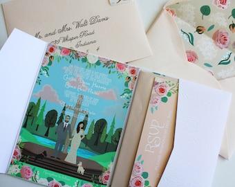 Invite Card, RSVP, & Map/Reception Card : Custom Illustrated Wedding Invitations, Design Fee