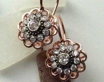 FREE SHIPPING Josephine Earrings  sterling pink gold victorian antique inspired cut diamond look