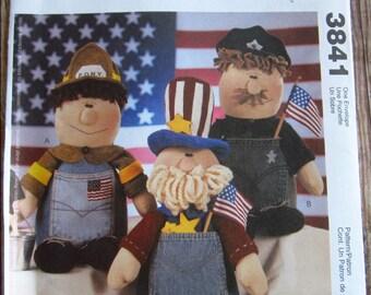 Stuffed Jean Pocket Dolls McCalls Crafts Pattern 3841 UNCUT Recycle Reuse