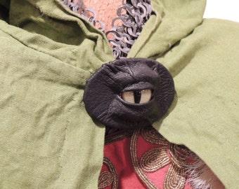 Dragon eye Brooch (Black leather with Green Eye)