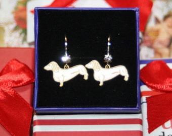 Vintage die struck daschund sausage dog doxie brass crystal pinup earrings