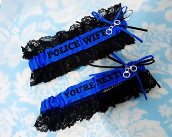 Blue and black Police Wife garter set, You're next garter set, fine line garter set, handcuffs garter set, Police garter set, black lace
