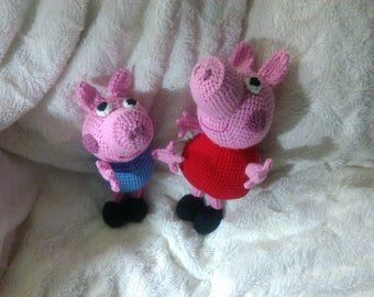 Crochet Peppa and George pig inspired