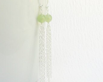 Jade Earrings, Silver Tassel Earring, Green Jade Tassel Earring, Silver Chain Tassel Earring, Gemstone Earring Long Chain Drop Earring Women