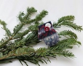 Felted Wool Mitten Christmas Ornament Primitive Rustic Dark Red Dark Blue