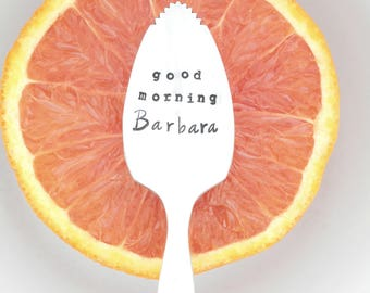 Stamped Serrated Fruit Spoon Personalized with Name. The ORIGINAL Pucker Up ™ Grapefruit Spoon. As Seen on the TODAY SHOW. Kathie Lee & Hoda