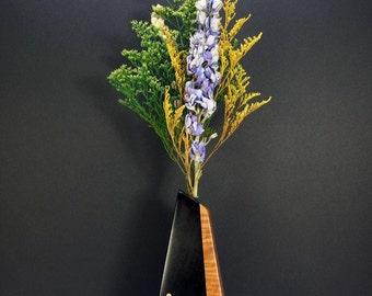 Handcrafted Sculptured Wooden Vase.One-Of-A-Kind Artisan Vase. Weed Pot. Freeform Shaped Bud Vase. Floral Arrangment. Refined Decor.