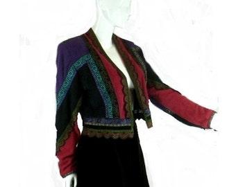 Roberto Cavalli, Angora and Leather Jacket, Vintage 1980s Couture, Cardigan Sweater, Size Small Medium