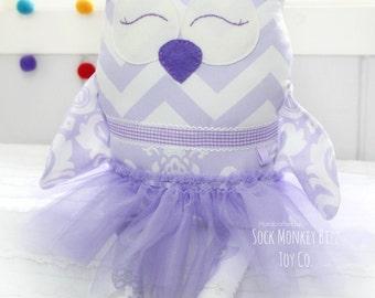 Personalized Cloth Doll, Ballerina Owl Plush Doll, Lavender