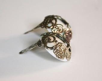 Large Vintage Button Clip Earrings