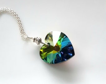 Swarovski Crystal - Swarovski Necklace - Swarovski Crystal Heart Necklace - Heart Pendant - Crystal Heart - Crystal Necklace - Vitrail