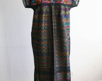 Oaxaca Black Embroidered Mexican Dress