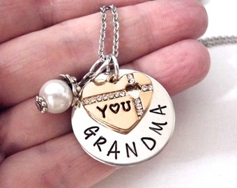 Super Sale Now Valentines Day, Valentines Gift,Grandma Jewelry, Grandma Gift, Gift for Grandma, Grandma Jewelry, Stamped Jewelry, Love You G